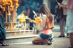 A Beautiful Offering (2) (cody_the_whody) Tags: girl canon thailand is bangkok buddhist praying offering kneeling 70200 f28 incense 5dmkii codythewhody