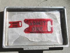 Shrinky dink plastic movie ticket yarn bobbins