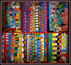 fiber weaving... (artsy_T) Tags: art paint fabric scraps weaving elementary fibers tempera oilpastel 4thgrade specialeducation elementaryart