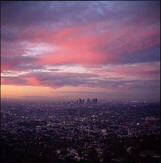 Los Angeles, at dusk.