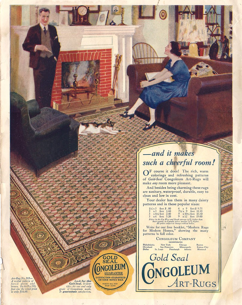 Gold Seal Congoleum Art Rugs (cluttershop) Tags: 1920s Illustration Floors  Vintage Magazine Kitty