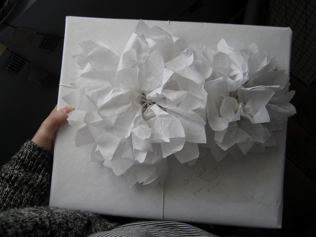 tissue flowers to top a special package