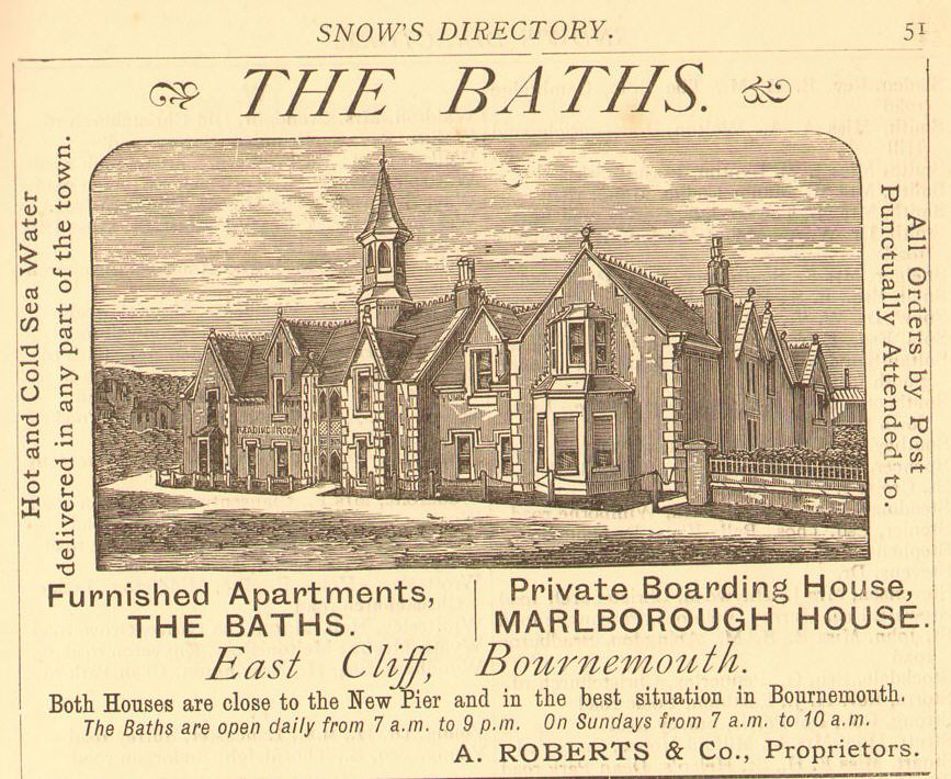 THE BATHS / MARLBOROUGH HOUSE. PIER APPROACH.  BOURNEMOUTH.  1883