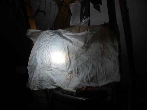 My fake daylight with bin bag filter