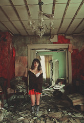 (yyellowbird) Tags: red wallpaper house abandoned girl illinois victorian malta velvet chandelier cari