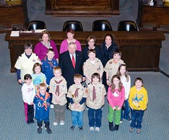 Sen. Moore welcomes Mendon Boy Scout Troop to the State House