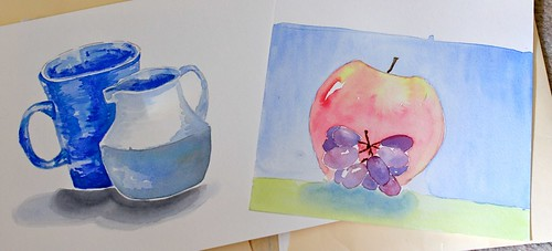 Watercolour course - week 2. Still life