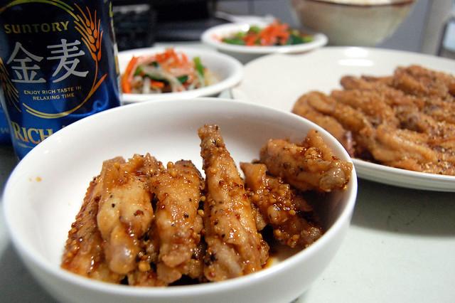 手羽先の甘辛マスタードで金麦を! #jisui