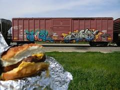 Cheeseburger in Paradise! (KickPushPaint aka Sk8Hamburger) Tags: train painting graffiti paint tag cheeseburger boxcar piece tagging freight lords knistt gtl tawl gtlrs knistto
