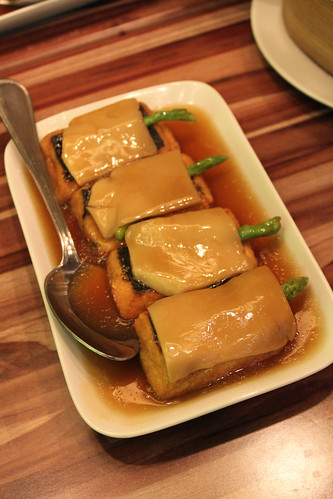 Homemade beancurd with asparagus and bailing mushroom at Delicious Kitchen