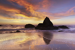 Bid for Earthquake Relief! The Monolith of Grey Whale Cove #2 - San Mateo County, California (PatrickSmithPhotography) Tags: ocean blue sunset red sea cloud seascape rock landscape sand pacific wave granite lowtide halfmoonbay sanmateo greywhalecove tnc11