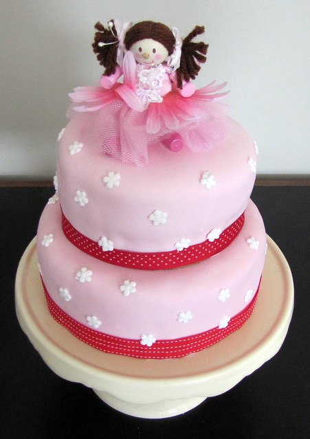 red and pink fairy cake