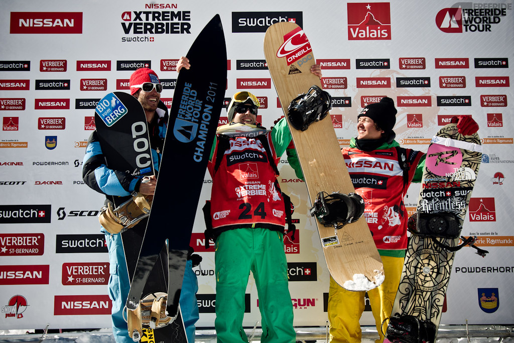 Podium Snowboard Men Overall - Photo J.Bernard - Event Nissan Xtreme Verbier 2011 by Swatch.jpg