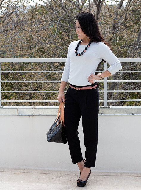 express pleated crop trousers banana republic baby blue knit sweater pink skinny belt forever 21 beaded necklace michael kors rose gold watch bebe zahara
