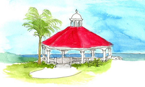 Lovely gazebo at the beach by artbybernadette
