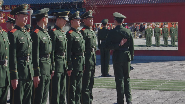 Drill practice, outside the Forbidden City, Beijing