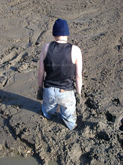 mudhole (MudboyUK) Tags: man male mud stuck sink deep jeans muddy quicksand