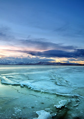 utah lake iced over sunset houstonryan 2 (houstonryan) Tags: winter sunset sun lake mountains ice wet utah over american when iced icy slippery conditions
