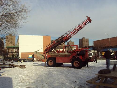Drilling for test Wells for Brook Restoration