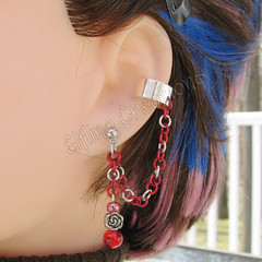 Red Rose Cartilage Ear Cuff