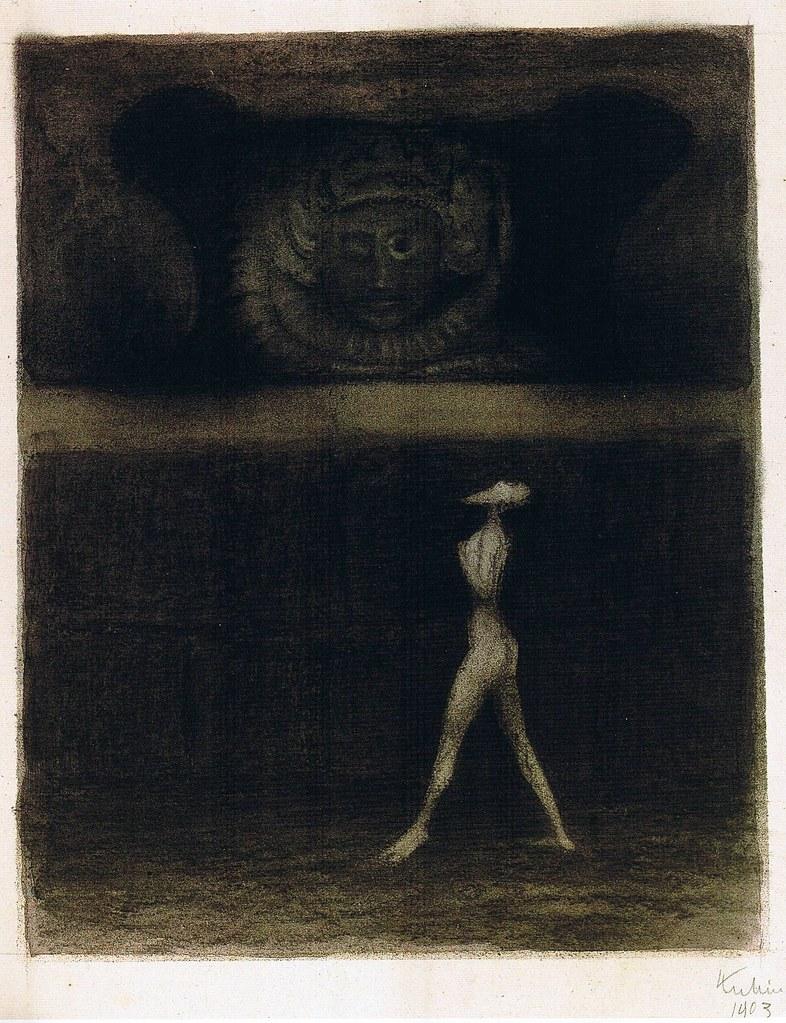 Alfred Kubin - Der Wanderer an der Mauer