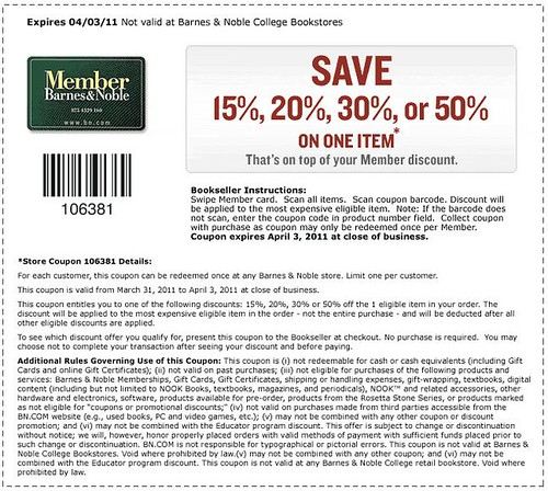 Barnes & Noble 50% discount coupon