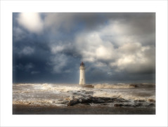 A vision in white.. (jetbluestone) Tags: sea sky cloud lighthouse white liverpool sand hdr wirral newbri