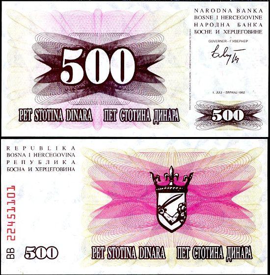 500 Dinárov Bosna Hercegovina 1992, P14