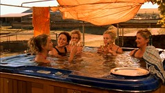 Women of Drovers Run in a spa hot tub