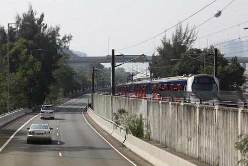 Passing a Tai Wai bound train on the Ma On Shan line