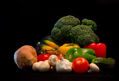 More veggies...getting my Vitamin A and C! (Nancy Rose) Tags: stilllife vegetables mushrooms colorful tomatoes broccoli fresh yam squash garlic produce zucchini sweetpotato redpepper yellowpepper greenpepper vitaminc vitamina canadasfoodguide