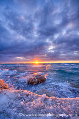 Shoreline ... winter sunset (Ken Scott) Tags: winter sunset usa snow ice clouds michigan lakemichigan february hdr freshwater benziecounty kenscott ptbetsielighthouse nearthe45thparallel