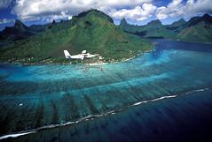 Vista area de Moorea y la baha de Opunohu (Tahiti Tourisme Espaa) Tags: ocean blue sea sky mountain verde green beach coral azul mar paradise playa lagoon cielo laguna reef montaa isla paraso moorea baie arrecife polinesia ocano vuearienne archipeldelasocit baiedeopunohu raymondsahuquet