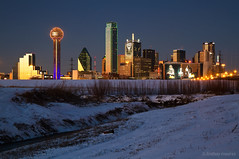 Dallas Skyline - Superbowl Weekend (lnmeares) Tags: city sunset urban snow ice skyline night dallas cityscape texas dusk tx packers dfw bluehour superbowl steelers trinityriver superbowlxlv