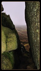 In between, stone, moorland beyond (Dazzygidds) Tags: uk england misty walking textures devon granite lichen shelter raining dartmoor subtle moorland widecombeinthemoor dartmoornationalpark graniteoutcrops mossytrees twomoorsway thewestcountry belltor bonehillrocks cafeonthegreen britishnationalparks chinkwelltor honeybagtor b3387 bonehillvillage