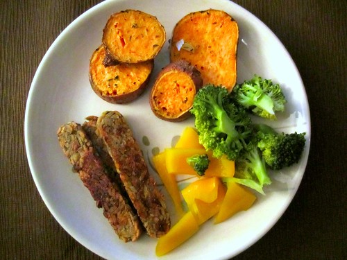 Tempeh, Sweet Potato and Steamed Veg