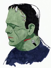 Boris Karloff as the monster (Treasures From Paul's Basement) Tags: frankenstein karloff universalmonstersoriginalartwork
