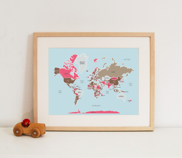 World Map - pinks & browns