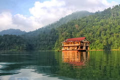 The haunted houseboat of Lake Kenyir 2 (sydbad) Tags: lake water canon buildings ghost houseboat eerie haunted abandon dslr derelict hdr 2xp 18135mm eos60d