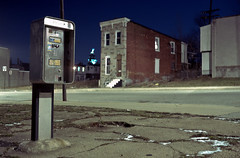 (patrickjoust) Tags: street city urban usa house snow color abandoned film ice home night analog america 35mm canon booth dark lens us md focus long exposure phone mechanical kodak empty united release tripod north patrick maryland rangefinder slide cable row baltimore 64 v american brewery vacant epson after 40 states kodachrome manual 40mm 500 process expired joust range finder canonet ql17 giii rowhouse rowhome estados k14 reversal unidos f17 v500 autaut patrickjoust