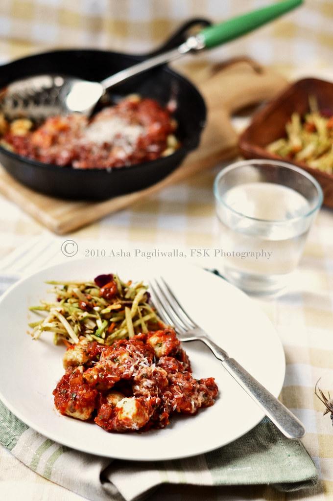 Ricotta gnocchi plated