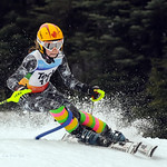 Keeley Tafel , Grouse Tyee Ski Club,  on her way to winning Slalom #1 of the TECK K1 SL at Grouse Mountain   PHOTO CREDIT : Jim Davie
