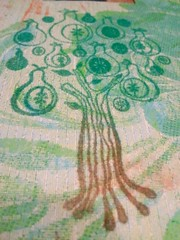 a flocked pear tree (Miss Thundercat) Tags: life camera tree phone flock craft wip velvet material 365 technique peartree flocking studiog flickeroid rubbberstamp
