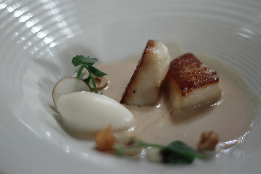 Scallop with hazlenut soup and artichoke sorbet