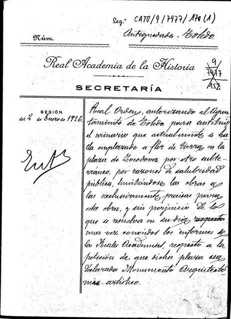Autorización para ejecutar los urinarios subterráneos de Zocodover en diciembre de 1925