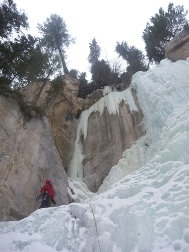 Lukic contemplating the third pitch of Icy BC