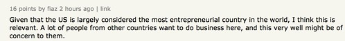 Given that the US is largely considered the most entrepreneurial country in the world, I think this is relevant.