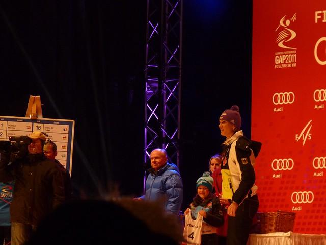 Maria Riesch bei der Nummernvergabe für den Slalom