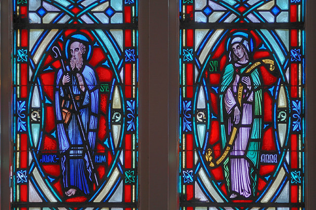 Saint Mary Roman Catholic Church, in Alton, Illinois, USA - detail of stained glass window, Saints Joachim and Anne