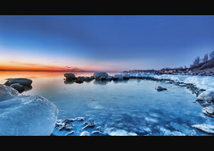 Hot and cold (Eeliasmedia) Tags: blue winter sunset sea orange cold ice night evening coast frozen warm long exposure sweden 550d t2i